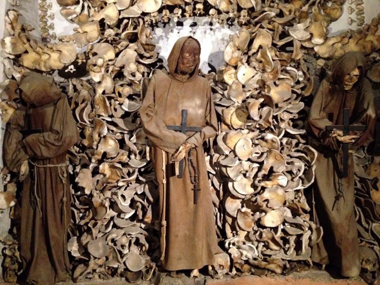 skeletons in church