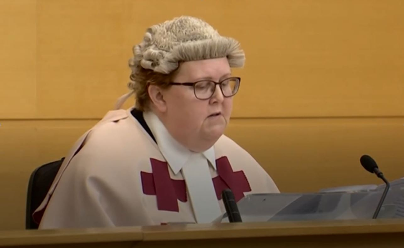 """a """"civil"""" judge with crosses on its robe and a hood"""