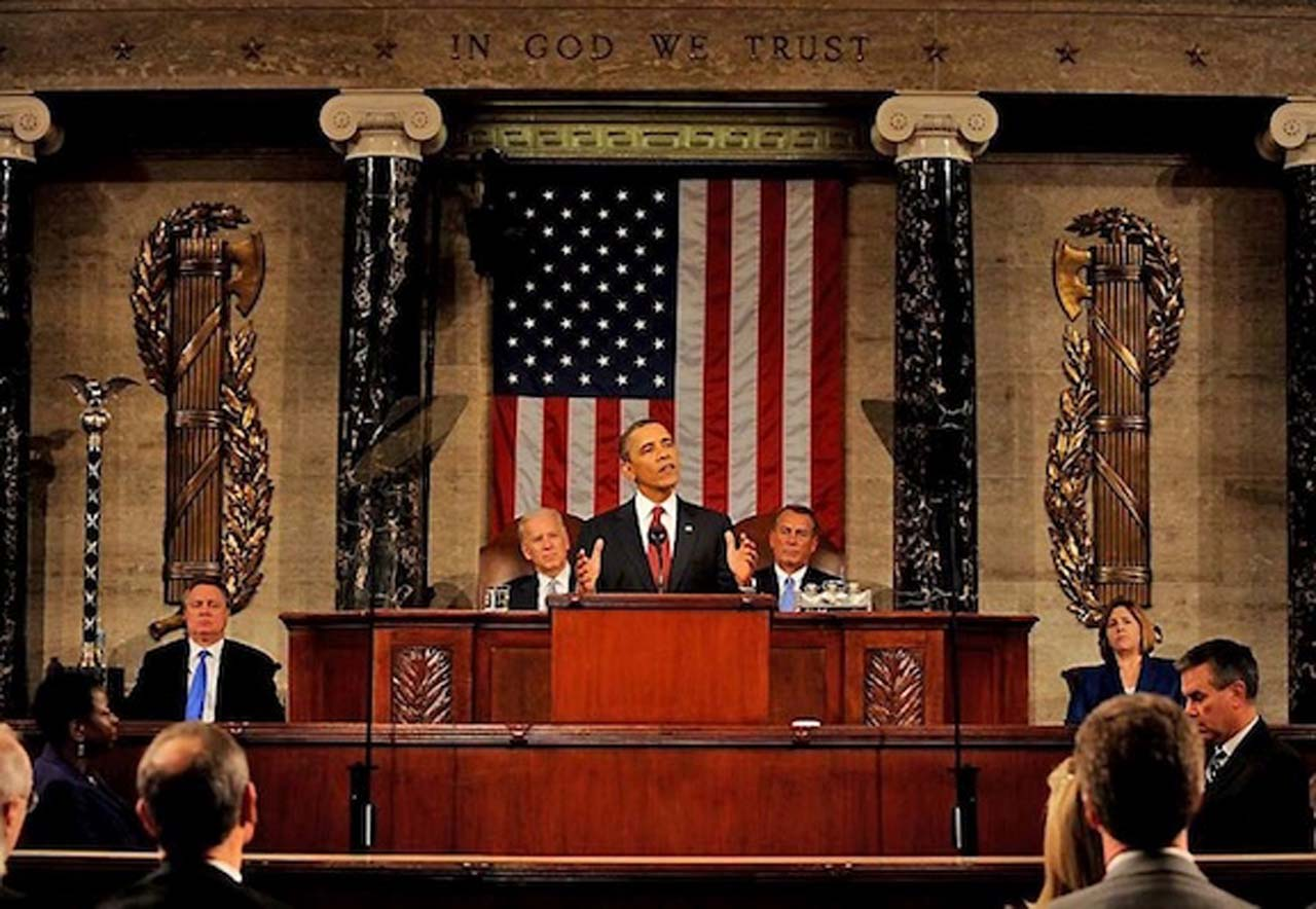 President Obama speaking to Congress (two Fasci axes left and right from him and the Mace of Republic*